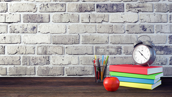 1045293630 istock photo Back to School Concept with Stationery Supplies 3d render 1045293630