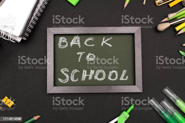 Back to school concept with stationery supplies and blackboard picture id1214814596?b=1&k=6&m=1214814596&s=612x612&h=ahyan6lbltpnu2lrp4vitu3yqiyykvgbv ih5d6ixtm=