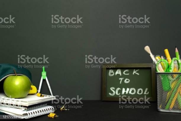 Back to school concept with stationery supplies and blackboard picture id1217725317?b=1&k=6&m=1217725317&s=612x612&h=3n1foujkabjuqhckrobetrr6 gytoyvsj3ru2xeoxuk=
