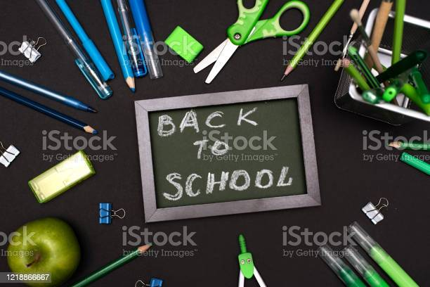 Back to school concept with stationery supplies and blackboard picture id1218866667?b=1&k=6&m=1218866667&s=612x612&h=jjlgx7dinwe77qv9zqwx1junhi6dttbqcdm54ph4ege=