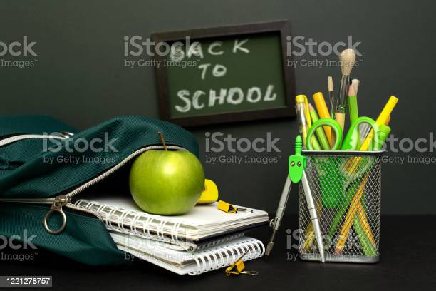 Back to school concept with stationery supplies and blackboard picture id1221278757?b=1&k=6&m=1221278757&s=612x612&h=ra9jfcu8z x8gxdmpd5u1v3t3ub551ae7ijvbv1qbfm=
