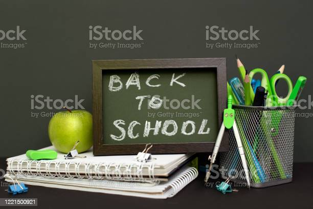 Back to school concept with stationery supplies and blackboard picture id1221500921?b=1&k=6&m=1221500921&s=612x612&h=wwi7yvxy1w7oy6a9fttis5klwbq2r7kan 07zgggz s=
