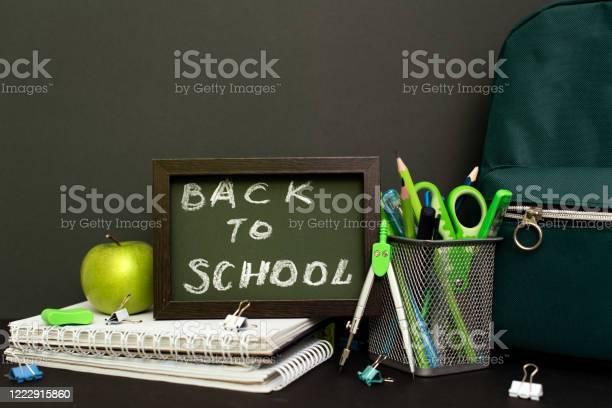 Back to school concept with stationery supplies and blackboard picture id1222915860?b=1&k=6&m=1222915860&s=612x612&h=4ta0q3qgqriakdqobrc24nfnfb1u2pq5bbgwug4yuwi=