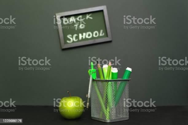 Back to school concept with stationery supplies and blackboard picture id1225686176?b=1&k=6&m=1225686176&s=612x612&h=vg09hx8dxiuedgjsl5wccojv7oo7hcqxl6607catgts=