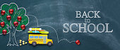Back to school concept with yellow school bus