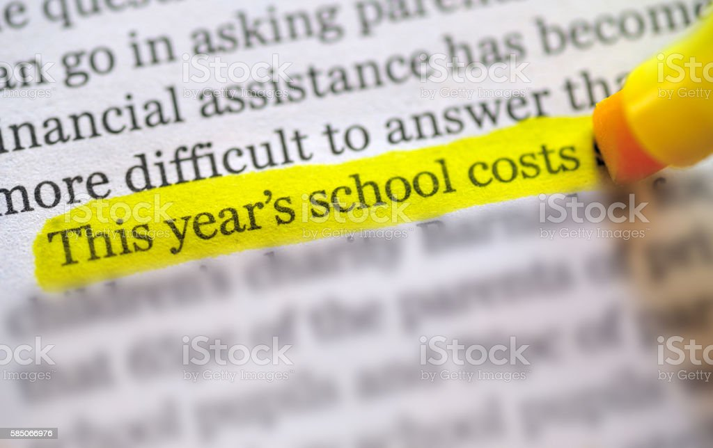 back to school  costs stock photo