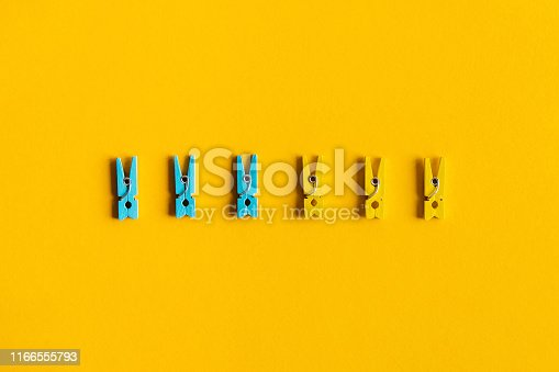 istock Back to school. Desk with scattered writing pins. 1166555793