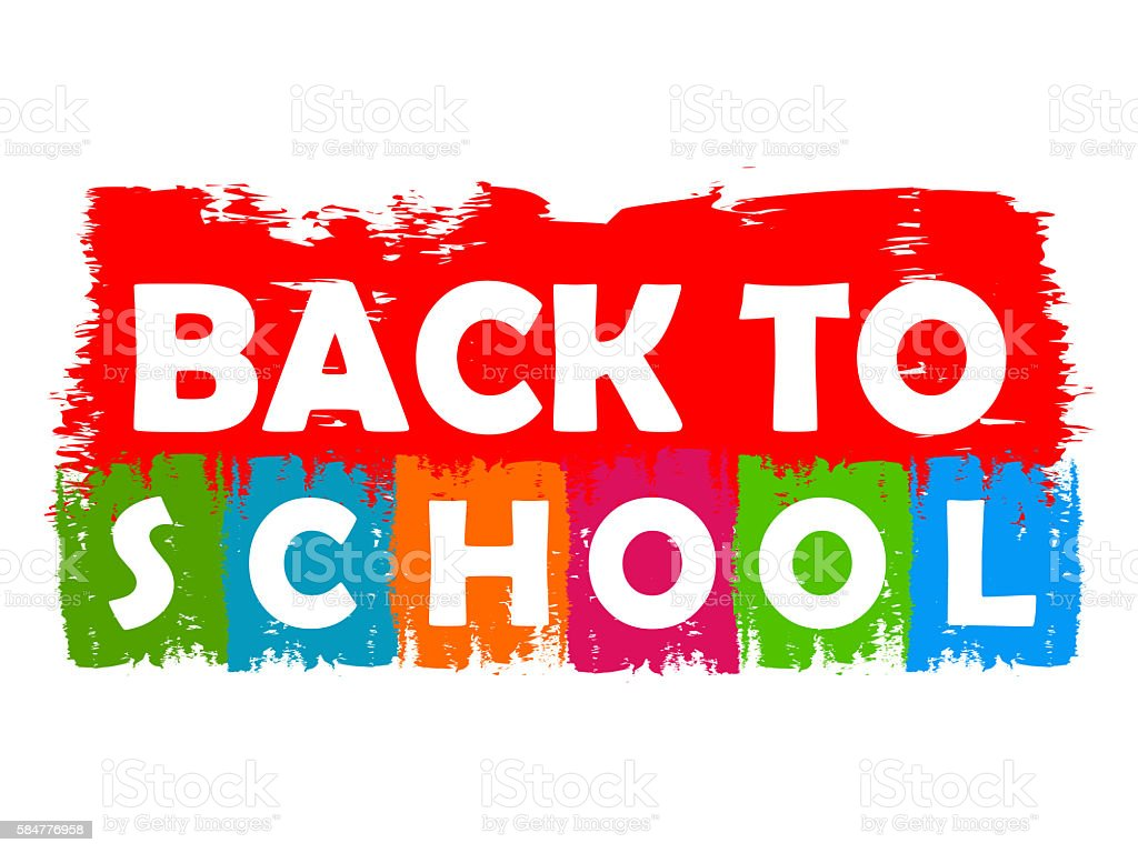 back to school drawn label stock photo