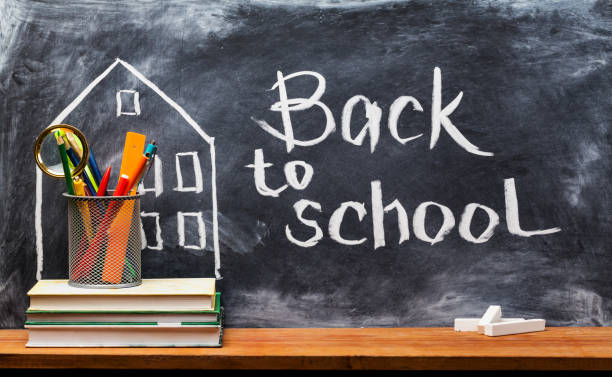 Back to school. Education background concept . School books on desk, education concept. Text Sign Concept Back to School . back to school stock pictures, royalty-free photos & images