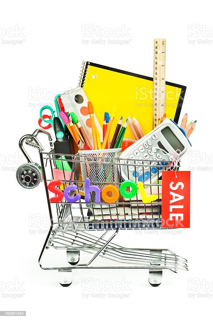 Back to School Education Shopping Cart for Supplies, Equipment Sale royalty-free stock photo