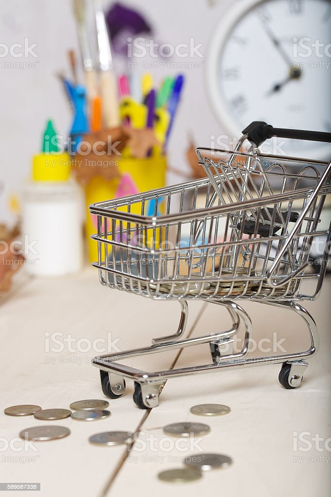 Expenses for preparation to school. Mini shopping cart with coins....