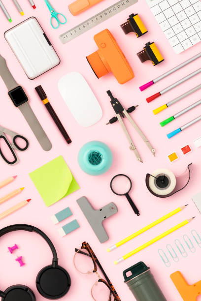 Back to school flat lay on pink background stock photo