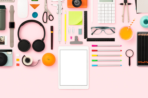 Stationary, school supplies flat lay. Back to school flat lay on pink background