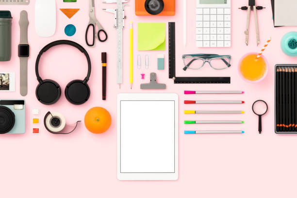 Back to school flat lay stock photo