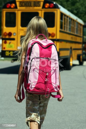 1031397608 istock photo Back to School - Girl walking toward Bus 172389891