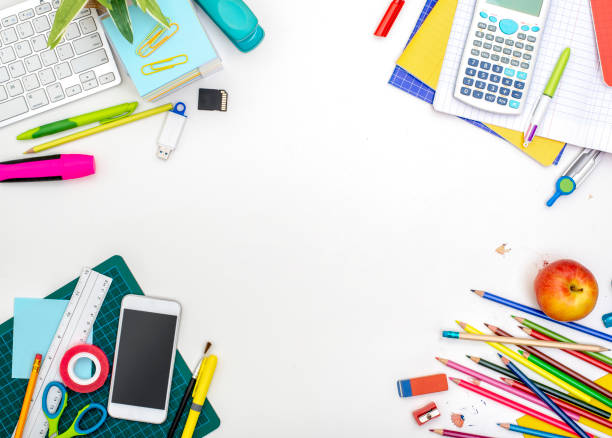 back to school hero header - school supplies stock pictures, royalty-free photos & images