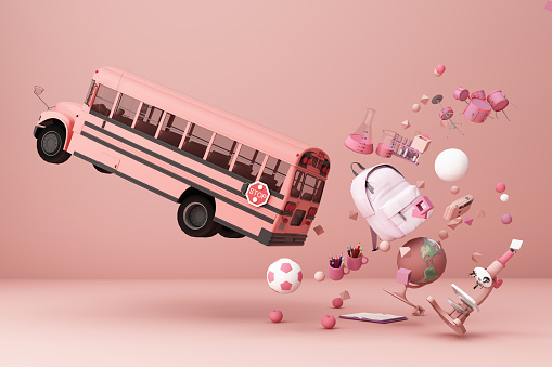 istock back to school ,inspiration, poster with educational equipment and school bus. 3d rendering 1181448404