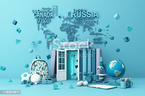istock back to school ,inspiration, poster with educational equipment and door open at book tower. 3d rendering 1180828872
