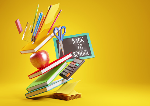 A back to school background with stacked items and student accessories. 3D render illustration.