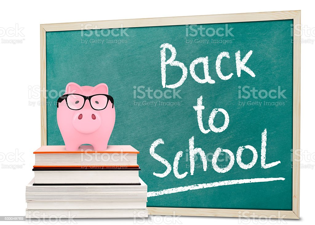 Back to school message and piggy bank stock photo