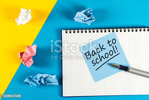 istock Back to school - Message at notepad. Education concept, 1 september time 1028447048