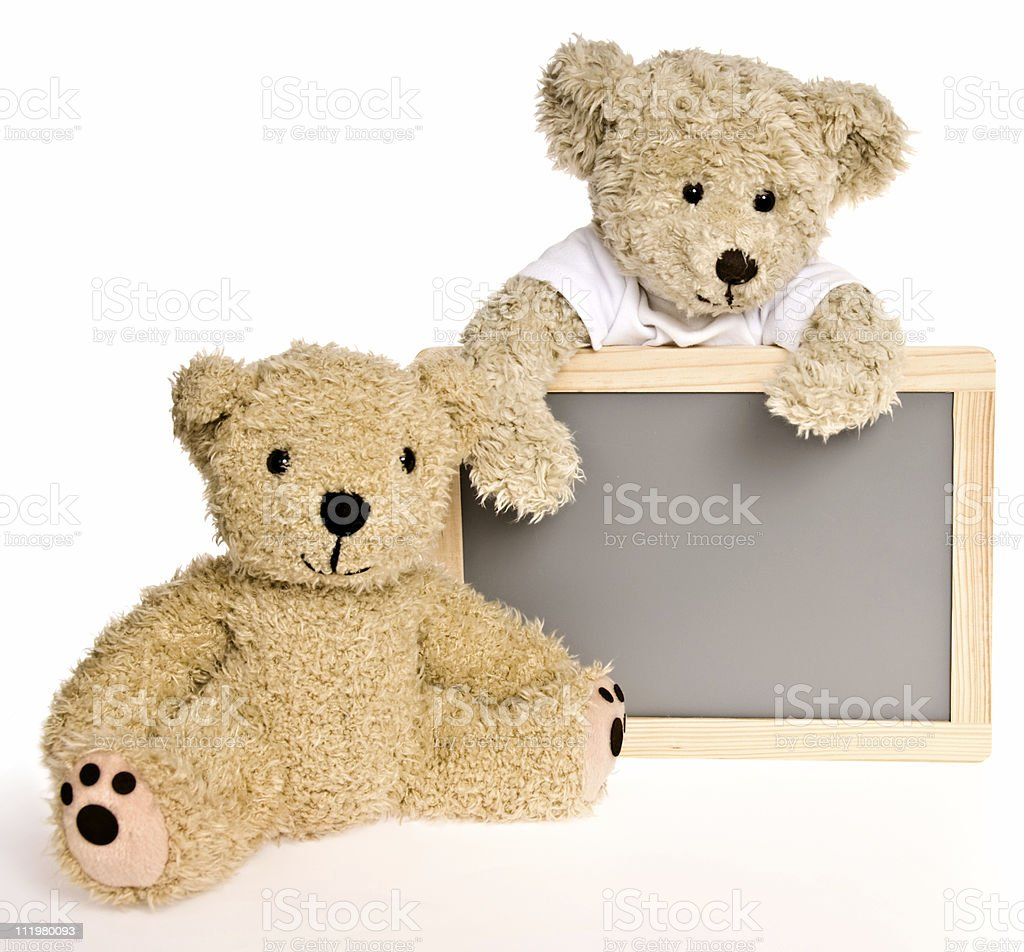 Back to School Message Board with Two Teddy Bears royalty-free stock photo