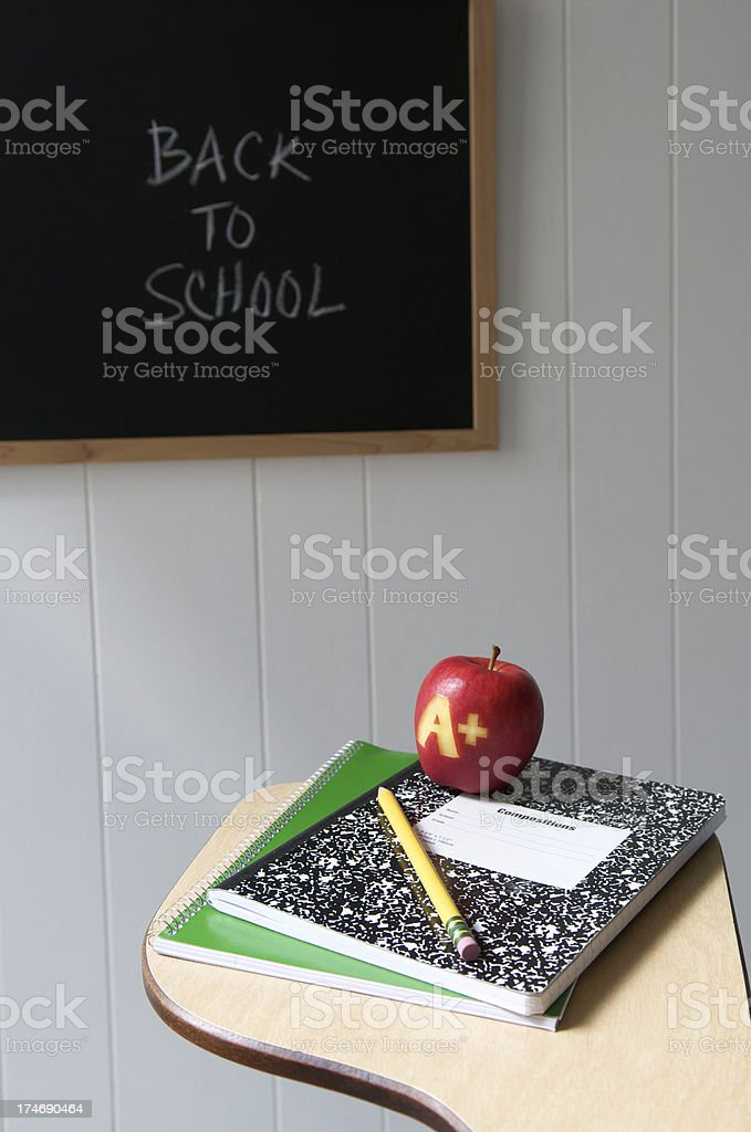 Back to School Message w Desk Chalkboard and Apple royalty-free stock photo
