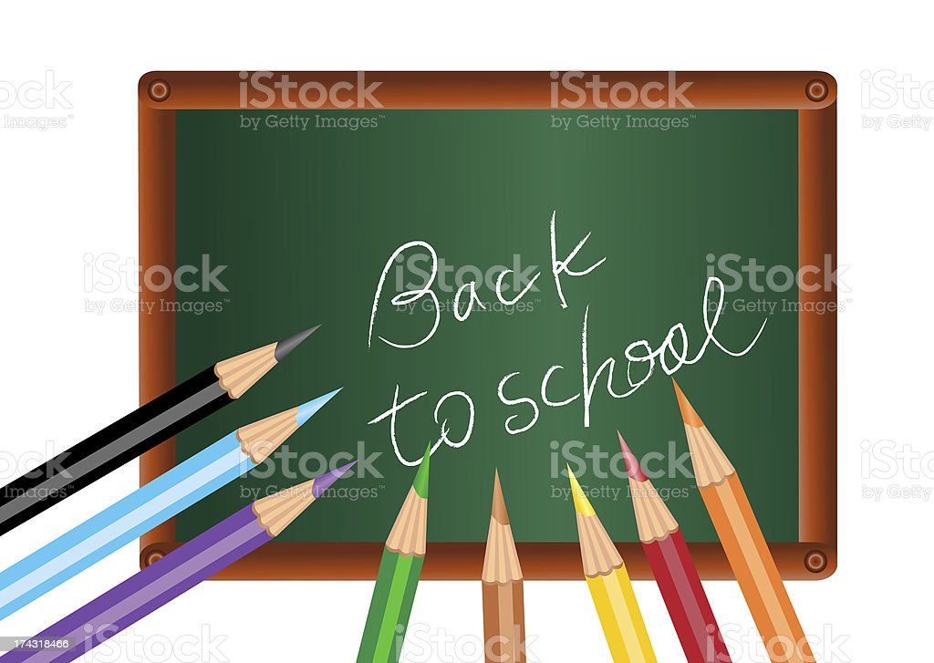 Back to school on chalkboard stock photo