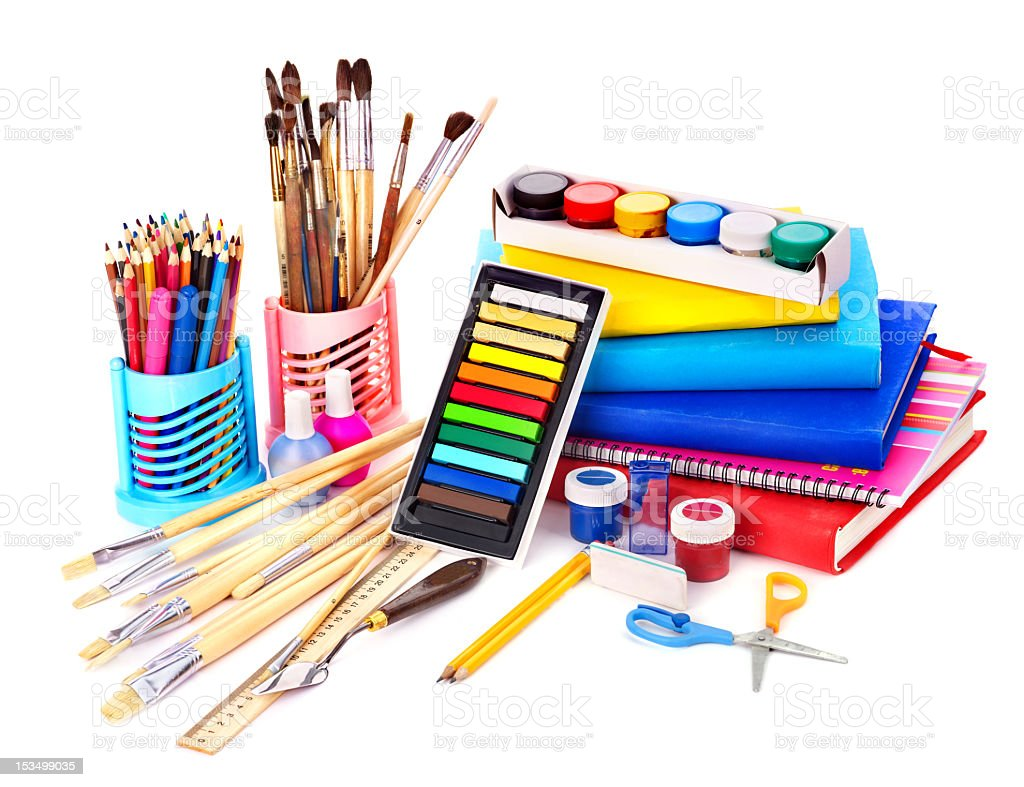 Back to school painting supplies stock photo