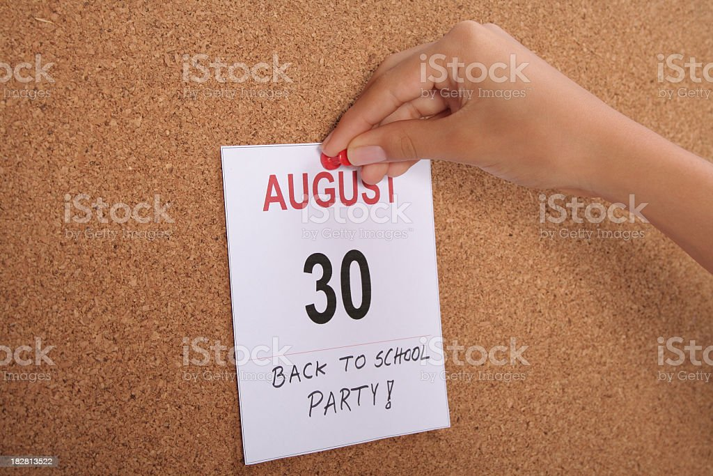Back to School Party - August 30 Reminder stock photo
