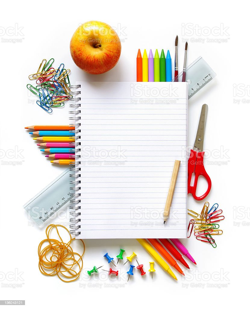 Back to School Photo of office and student gear over white background Apple - Fruit Stock Photo