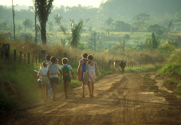 Back to school I used a 35mm slide film !Children on the way to school in the morning in a remote place of the brazilian amazon. developing countries stock pictures, royalty-free photos & images