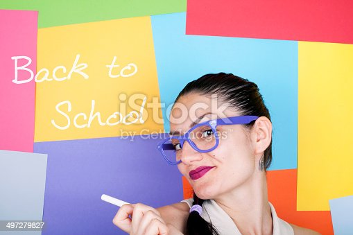 Woman with ' Back to School ' note