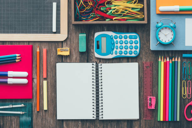 back to school - stationary stock photos and pictures