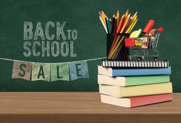 Back to School Sale, Discount, Web Banner, Billboard, Blackboard discount store stock pictures, royalty-free photos & images
