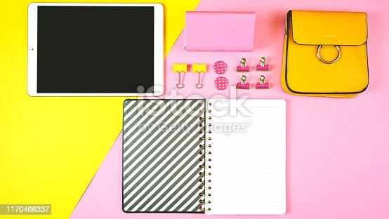 istock Back to school pink and yellow teen's theme concept flat lay. 1170466337