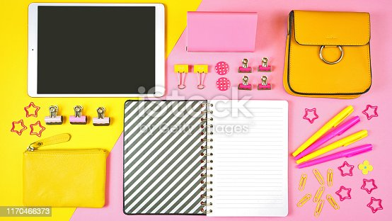 istock Back to school pink and yellow teen's theme concept flat lay. 1170466373