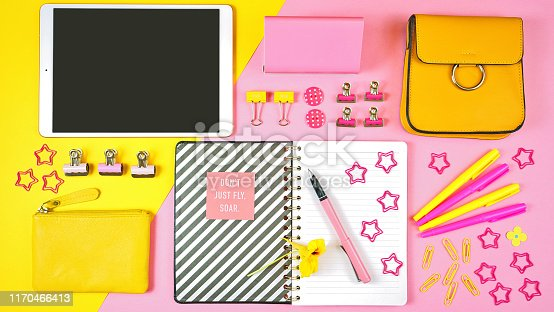 istock Back to school pink and yellow teen's theme concept flat lay. 1170466413
