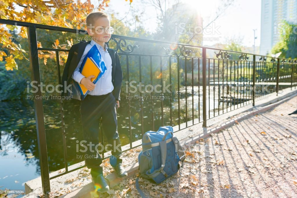 Back to school, portrait of a boy with a backpack, school supplies,...