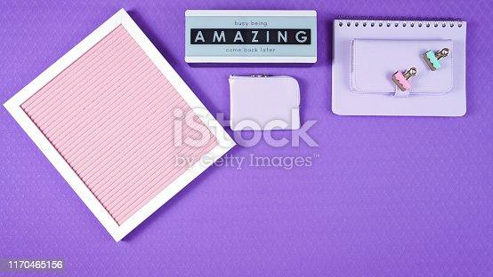 istock Back to school purple teen's theme concept flat lay. 1170465156