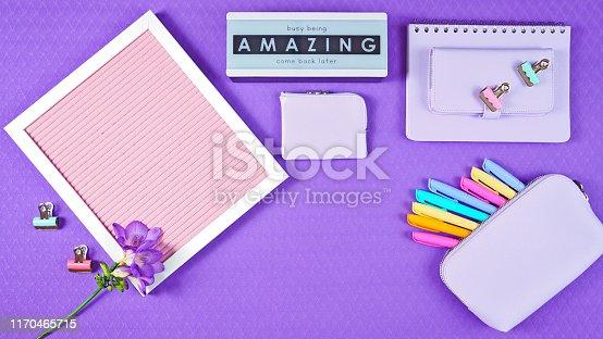 istock Back to school purple teen's theme concept flat lay. 1170465715