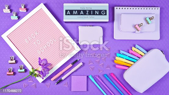 istock Back to school purple teen's theme concept flat lay. 1170466272