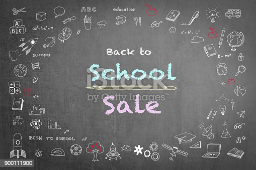 1069581886 istock photo Back to school sale advertisement on black chalkboard with doodle 900111900