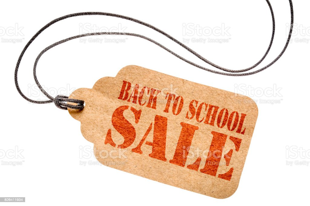 back to school sale sign on isolated price tag stock photo