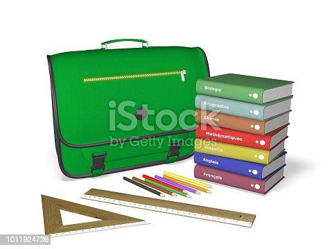istock Back to school schoolbag books notebooks pencils batten square 1011924736