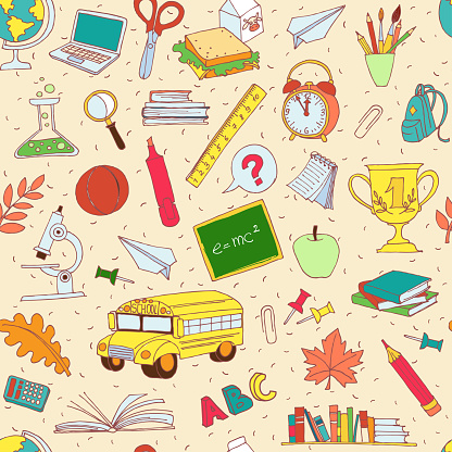 istock Back to school seamless pattern of kids doodles 483705486