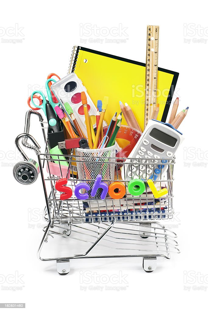 Back to School Shopping Cart with Supplies on White Background stock photo