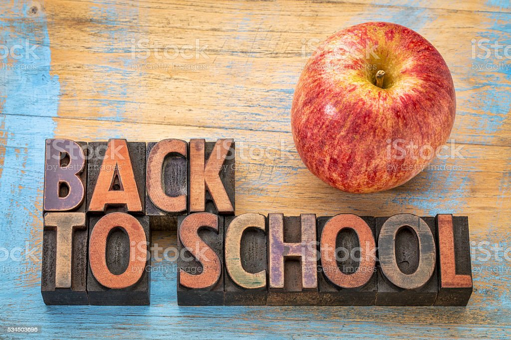 back to school sign in wood type stock photo