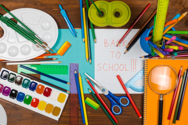 back to school stop motion animation with pens and paints - stop motion stock photos and pictures
