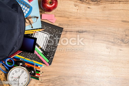 Back to school supplies spilling out of open backpack lying on student's wooden desk.  Copy space at side.  Classroom.